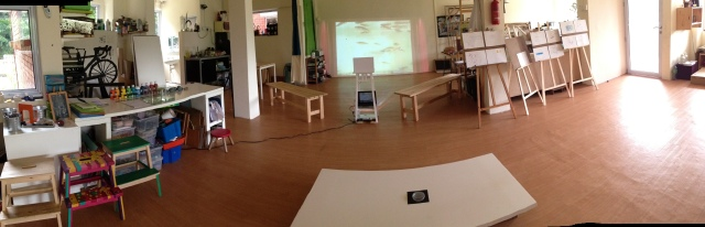 Studio set up for fish study (pre-school)